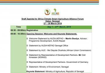 Draft Agenda - 3rd Africa CSA Forum - Senegal