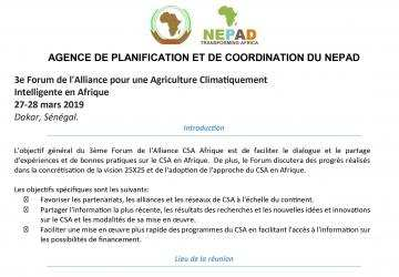 Information Note: 3rd Africa Climate Smart Agriculture_french version
