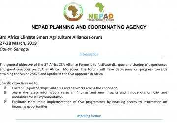 Information Note: 3rd Africa Climate Smart Agriculture Alliance Forum