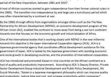 NEPAD adopts Japanese productivity improvement concept